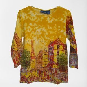 ⭐ Artscapes 3/4 sleeve T Shirt Top Blouse NWT
